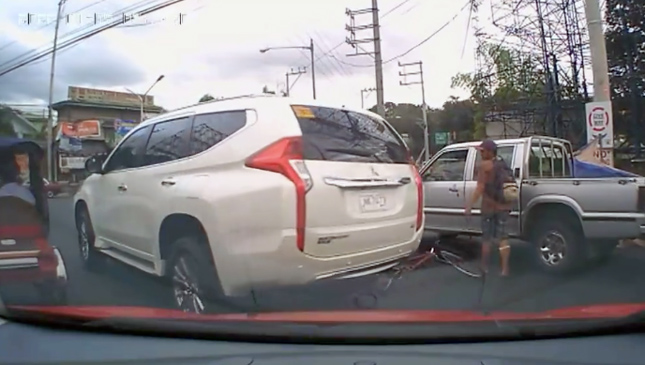 All-new Mitsubishi Montero Sport hits a bicycle in the Philippines