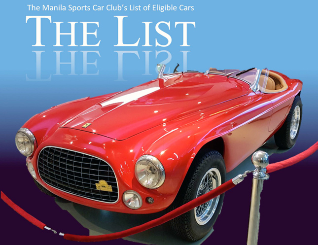 Manila Sports Car Club's List of Eligible Cars