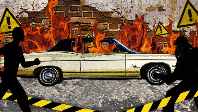 What should you do in an automobile fire?