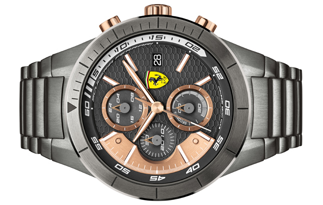 black time and watches crystals chronograph ferrari scuderia lap watch