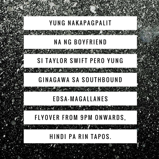 Taylor Swift motoring hugot lines