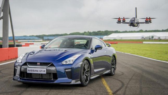 Nissan GT-R vs. drone