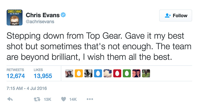 Chris Evans on Twitter