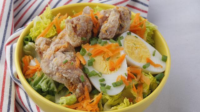 Chicken Karaage on Salad Greens