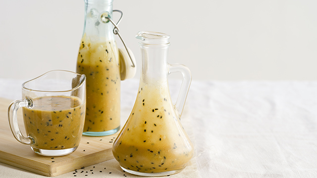 This creamy Japanese salad dressing is made with sesame seeds.