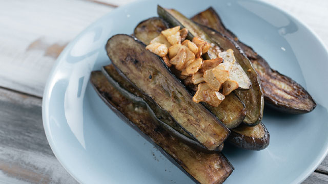 Simply frying vegetables like eggplants can be a boost of flavor.