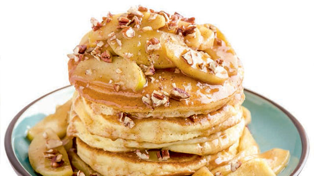 Make your pancakes more flavorful with apples and cinnamon.