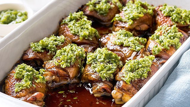 Baked Chicken with Ginger-Scallion Sauce Recipe