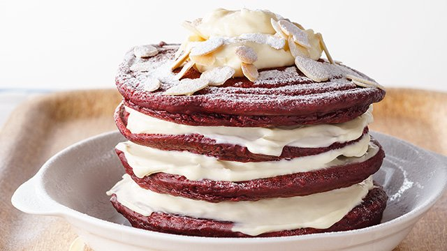 The classic cake flavor red velvet is a great idea to make into pancakes for dessert.