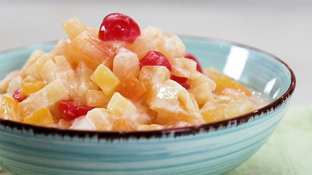 This fruit salad is made lighter yet maintains its creaminess by using yogurt instead of cream for its dressing.