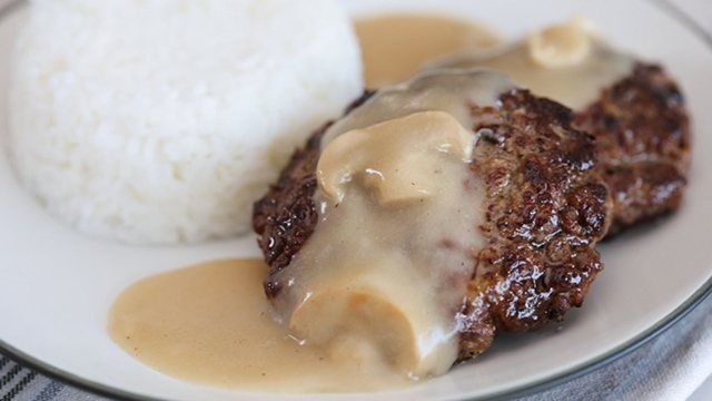 This burger steak recipe is a simple burger doused in a delicious mushroom gravy that you have at home.