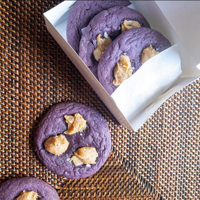 These ube cookies are topped with caramelized white chocolate dulce de leche dollops. Delicious!