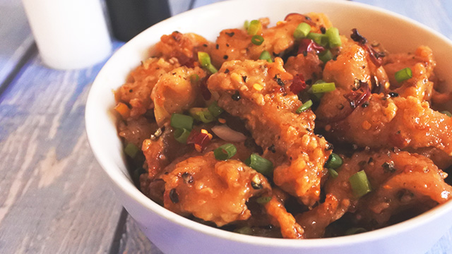 This black pepper chicken recipe is spicy and sweet, courtesy of the caramelized brown sugar.