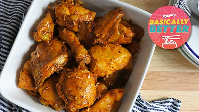 This adobong manok na pula recipe or red chicken adobo recipe is made super colorful and vibrantly red-orange by the atsuete or annatto seeds used in the oil.