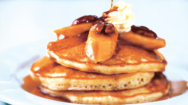 The most flavorful pairings on top of pancakes can be bananas, pecans, and homemade caramel.