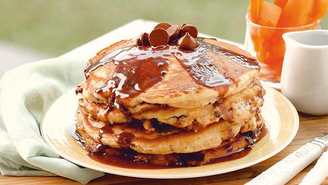 You can't go wrong with pancakes that have chocolate chips and oatmeal.