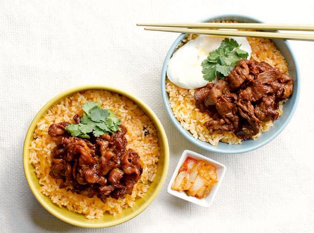 bulgogi and kimchi rice topping recipe