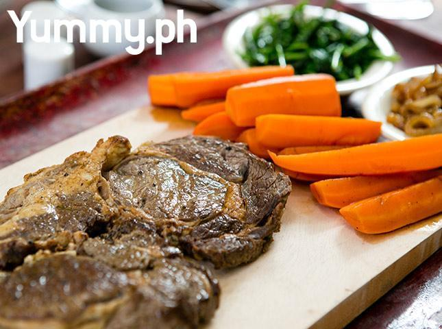 Steak with Spinach, Caramelized Onions, and Honeyed Carrots Recipe